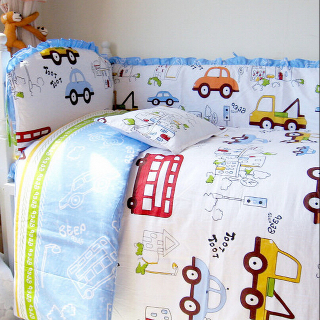 Blue and White Cartoon Cars Toddlers Baby Boy Bedding Set,10pcs Infant Bedding Set Include Bumper Sheet Quilt Pillow Mattress