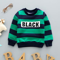 Kids sweatshirts 2016 new brand Winter and Autumn Boys girls hoodies cotton warm sweater for child striped t shirt Letter BLACK