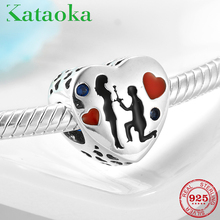 Courtship Love sweetheart Heart 925 Sterling Silver Charms red Beads Fit Original Pandora Charm Bracelet Jewelry making women