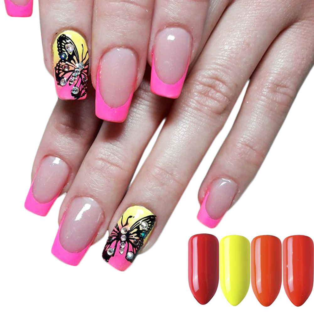 Image 4 - Mixed 12 Color Fluorescent Nail Art Pigment Neon Summer Shinny Glitter Nail Powder Dust Ombre Gradient Manicure Tool CHYE-in Nail Glitter from Beauty & Health