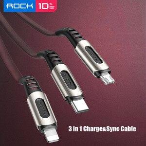 Image 5 - ROCK 3 in 1 Cavo USB per il Telefono Mobile Astuto Microusb Tipo C Cavo del Caricatore per il iPhone Cavo di Ricarica Micro caricatore USB Data Cavo di