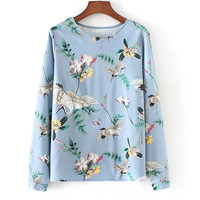 2018 Spring New Blue Floral Bird Printed Loose Blouses Female Clothing Casual Long Sleeve Woman Shirt
