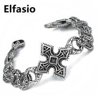 Men's Boy's Cross Stainless Steel Link Bracelet Silver Fashion Bangles Jewelry 8.9 inch / 23.5cm