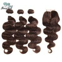 Молодой вид индийский волны волос на теле натуральные волосы ткань 3 Связки с 4*4 закрытия шнурка 130% плотность не Remy #4 цвета волос для Для женщ