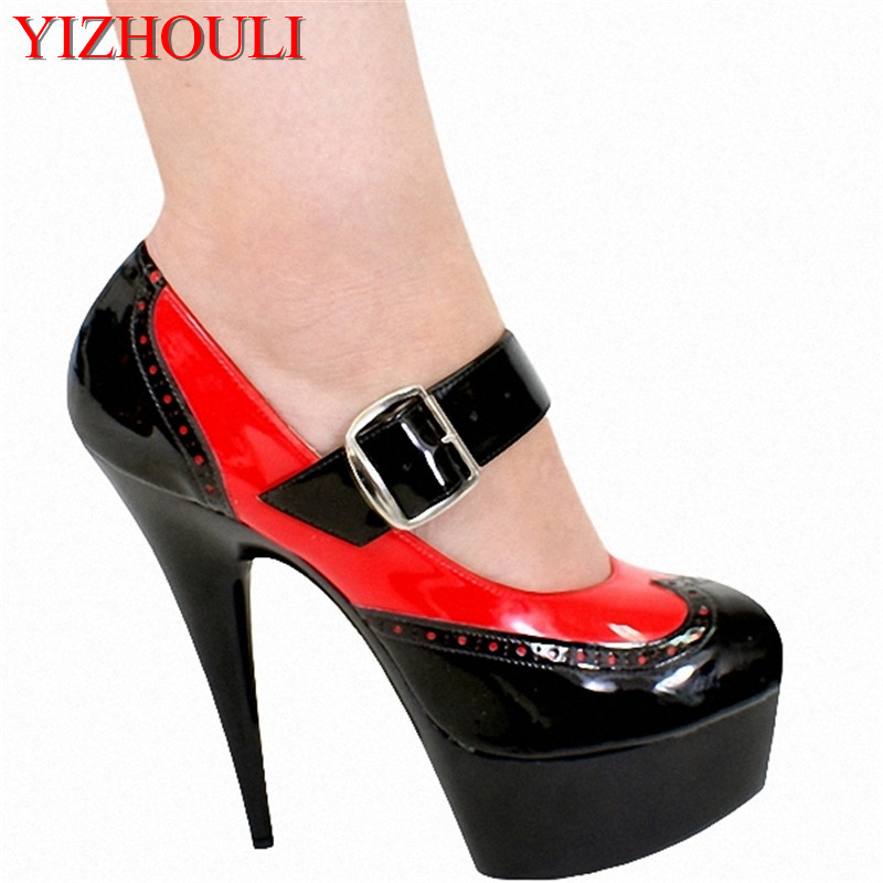 sexy color block women's shoes 15cm ultra high heels single shoes Platform Court Shoes with EU34-46 Stiletto Heel 15cm club shoes big star with steel tube dancing shoes 34 and 46 yards high with the lacquer that bake single crystal shoes