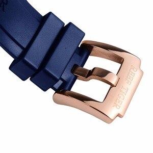 Image 5 - Reef Tiger/RT Top marka luksusowy sportowy zegarek mężczyźni różowe złoto wojskowe zegarki niebieska guma pasek automatyczne zegarki wodoodporne RGA3503