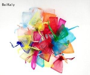 Image 3 - 500 adet İpli takı çantaları kılıfı 5x7 7x9 9x12 10x15cm organze çantalar düğün ambalaj hediye çantası parti dekorasyon takı çantası