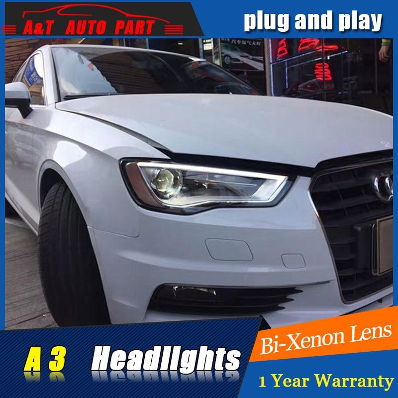 Авто Стиль часть светодиодный налобный фонарь для AU-ди-А3 светодиодные фары 2014-2016 для AU-ди-А3 H7 спрятал Би-Ксеноновые объектива низкий луч