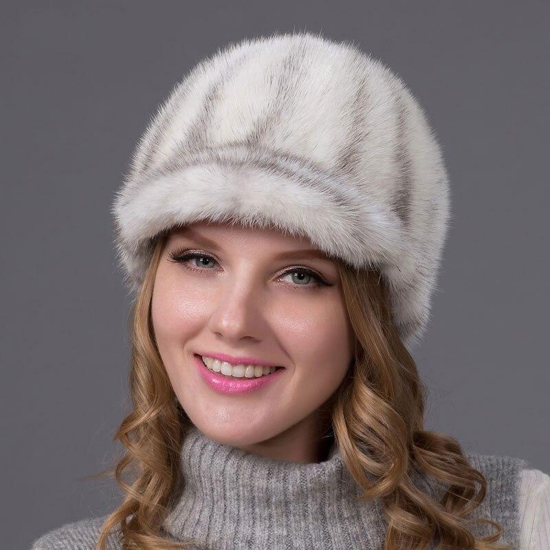 Genuine Winter Mink Fur Hat Cap In Women Clothing Fur Headdress Warm Fashion Cap Hats Headgear Russia Style Caps Mink Fur PD-01