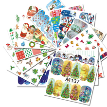 48Pcs Colorful Mixed Christmas Snow Nail Sticker Water Transfer Full Wraps Manicure Tips Decals Nail Xmas Glitter CHA1129-1176