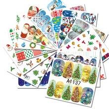 48 шт Красочные смешанные Рождество снег наклейка на ногти Водная передача Полный Обертывания маникюр Советы наклейки ногтей Рождество блеск CHA1129 1176