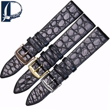 Pesno Round Grain Alligator Leather Watch Band Black Thin Genuine Leather Watch Strap Suitable for Longines Presence