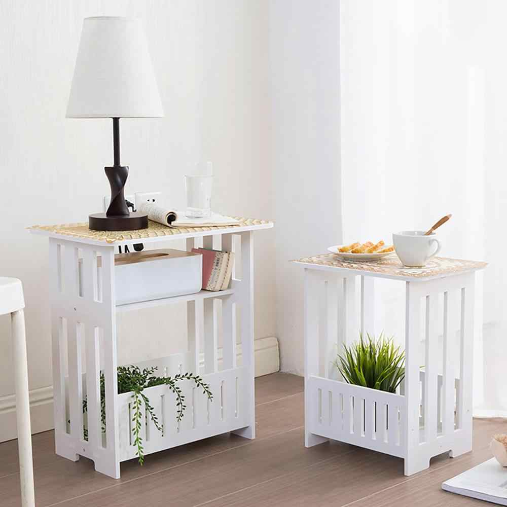 White 2 Layer Small Side Table Plastic Tea Coffee Table For Living Room Hollow Office Magazine Storage Shelf Home Decor Cabinet