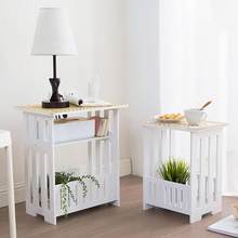 White 2 Layer Small Side Table Plastic Tea Coffee Table For Living Room Hollow Office Magazine Storage Shelf Home Decor Cabinet(China)