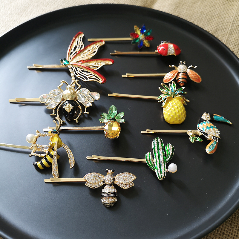 JUJIA  Animal Fruit Design Shiny Crystal Rhinestones Hairpins Barrettes Colorful Hair Clips Hairstyle Hair Accessories Barrettes