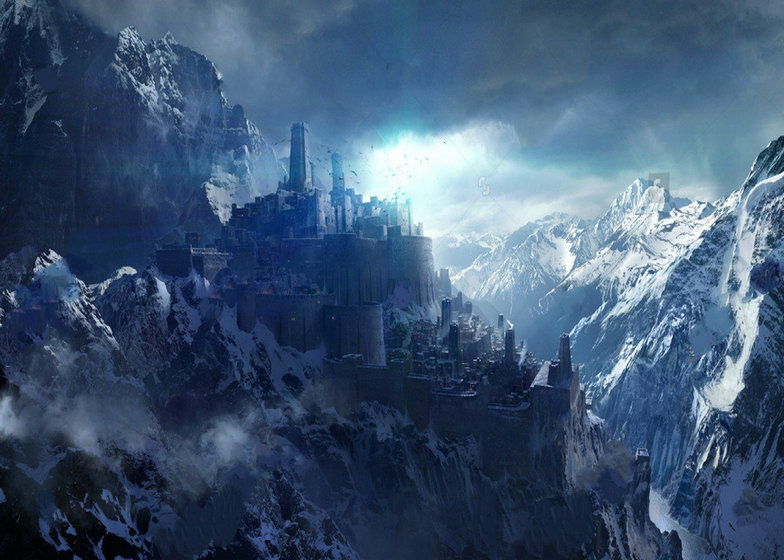 Palace Snowcapped Winter Snow Mountains Hogwarts Castle
