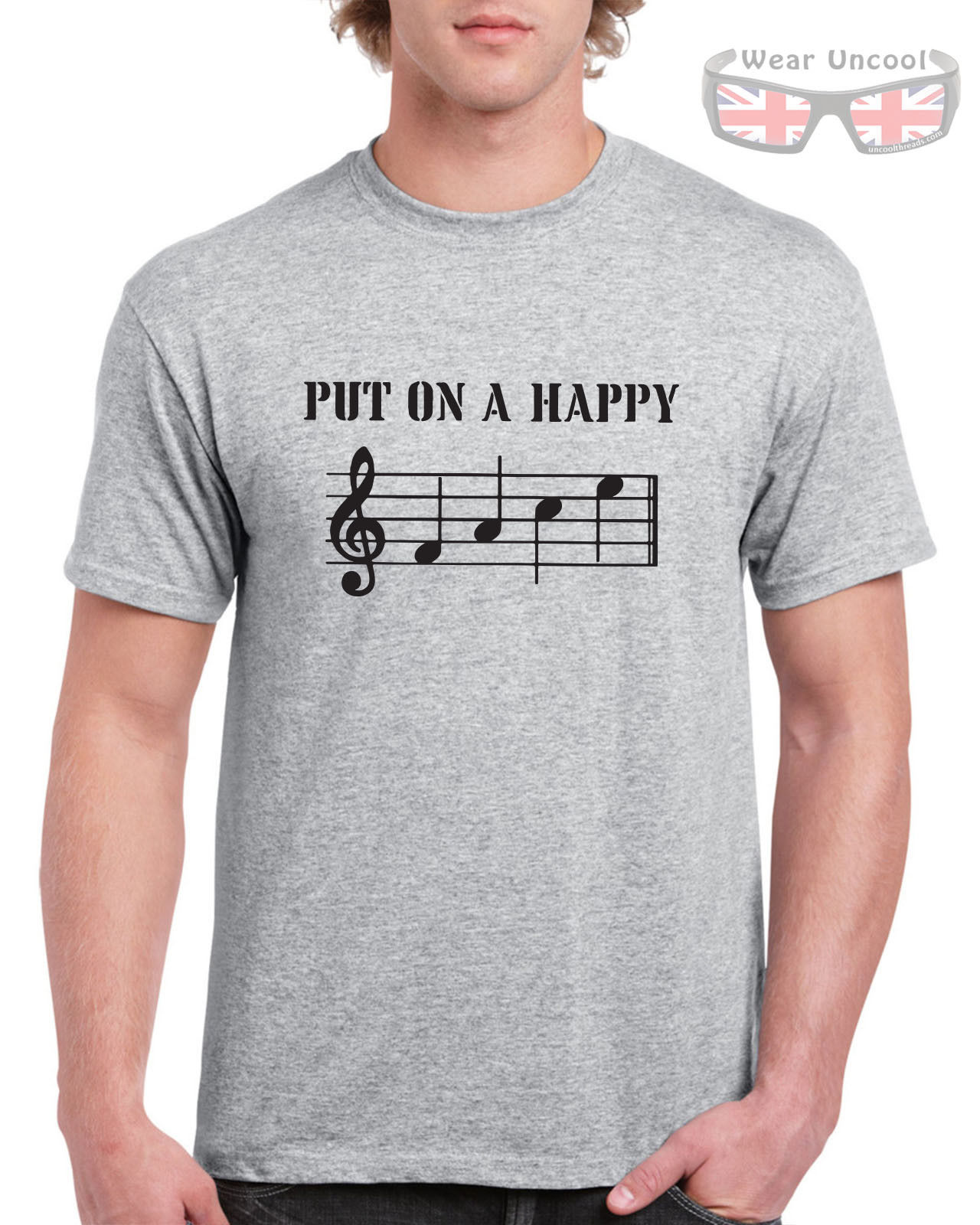 Piano Sheet Music Ladies Tee Funny Womens T-Shirt Put On A Happy Face