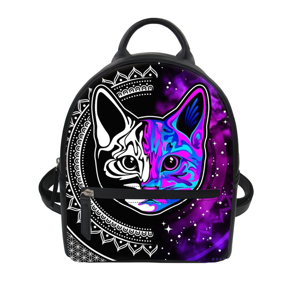 FORUDESIGNS Colorful Cat PU Leather Backpack for Women Lady Mini Black School Bag Girls Fashion Travel Waterproof Daypack 2019