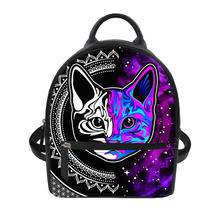 FORUDESIGNS Colorful Cat PU Leather Backpack for Women Lady Mini Black School Bag Girls Fashion Travel Waterproof Daypack 2019 women forest deer animal print studded black leather school backpack travel daypack bag