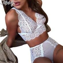 DeRuiLaDy Elegant Lace Bra Set Ultra-thin Seamless Deep V Panties Hollow Out Transparent Sexy Lingerie Underwear Women
