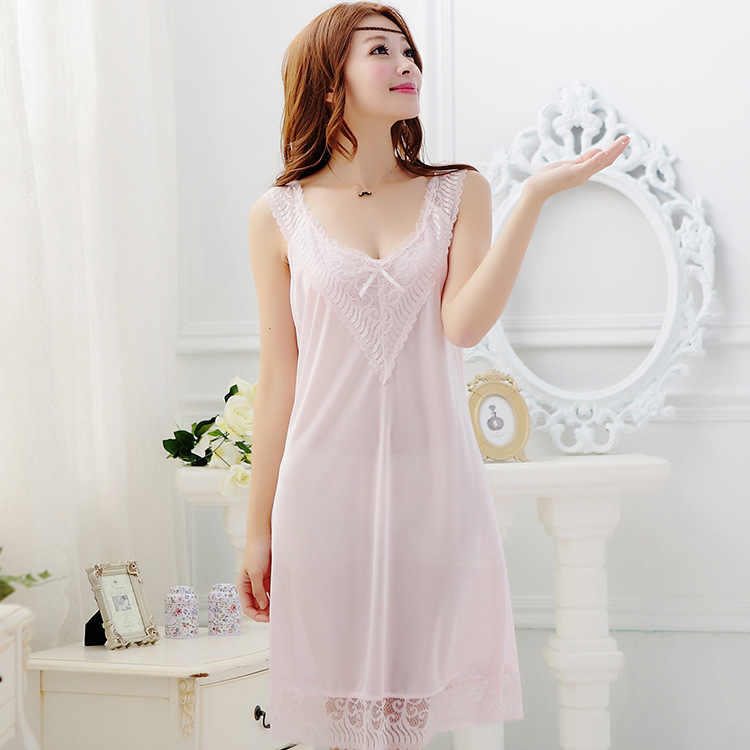 4decd2da87 ... 2015 summer style Spaghetti strap nightgown sexy silk sleepwear women s  the temptation to lace silk nightgown ...