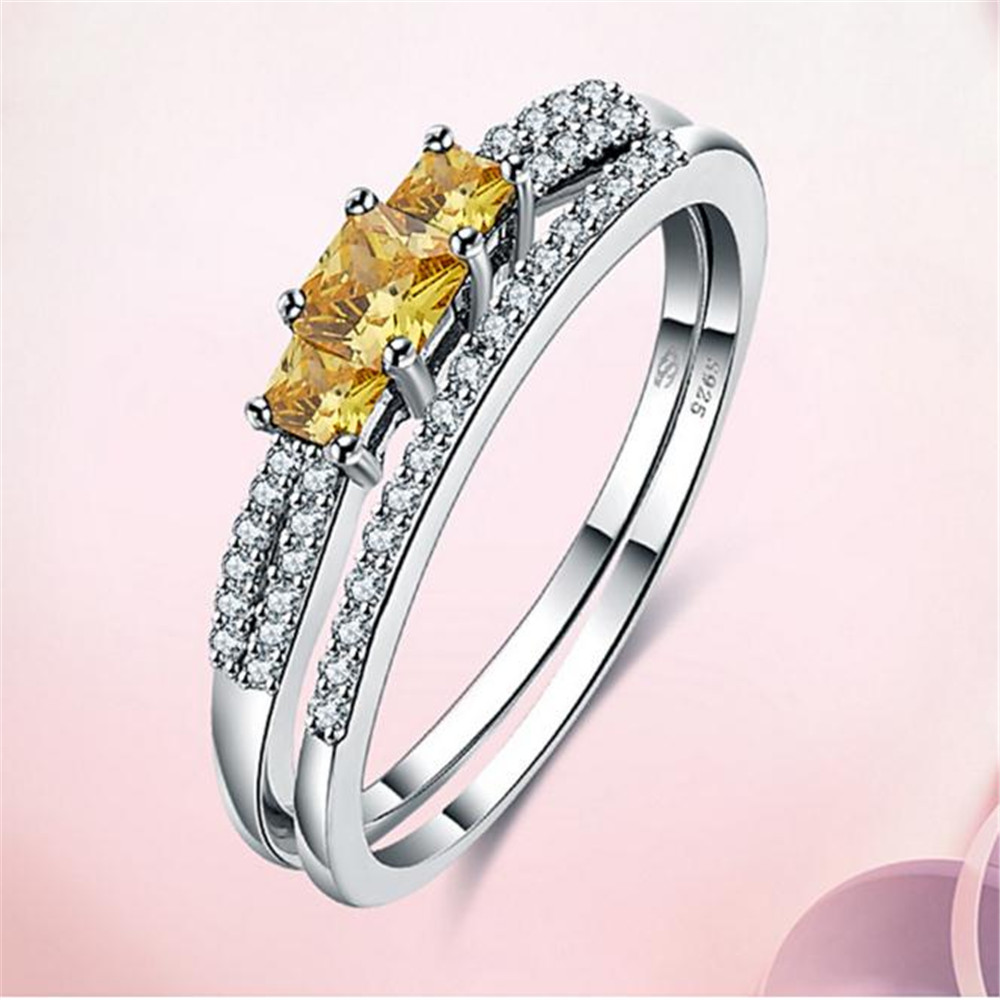 2018 Excellent Bezel Setting Girls S925 Sterling Party Ring Women's Fashion Weddings Jewelry Yellow Rings Fast Shipping hireko fast setting shafting epoxy