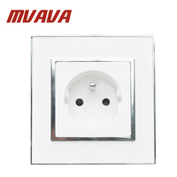 MVAVA French Standard Wall Power Socket Electrical Plug Outlet AC 110~ 250V 16A Crystal Glass Mirror Panel Free Shipping