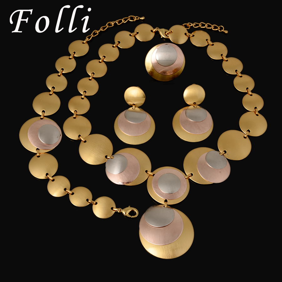 Charm 24K Silver Rose Gold Plated Jewelry Set Fashion Three Color Dubai African Jewelry Set High