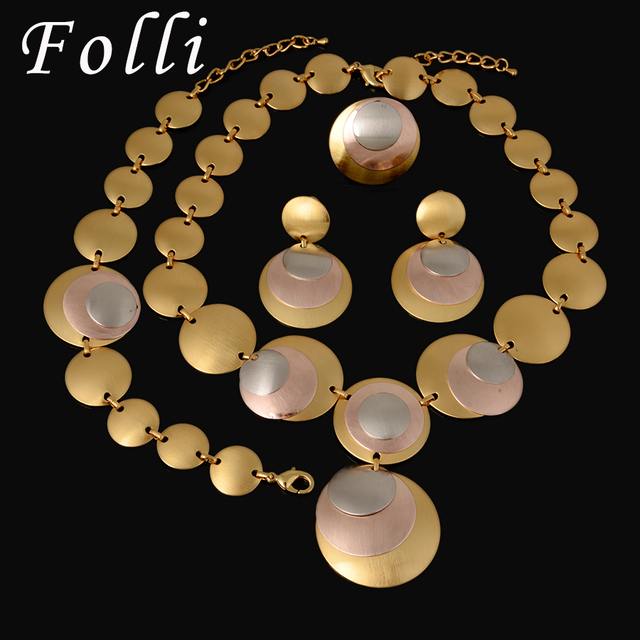 Charm 24K Silver Rose Gold Plated Jewelry Set Fashion Three Color