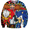 New Fashion Anime Sonic and Dr. Robotnik 3D Sweatshirt Women/Men Cute Cartoon Hoodies Pullovers Casual Leopard Outwear Jumpers