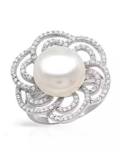 I&zuan S925 Silver White Cultured Freshwater Diameter 9~10mm Pearl Romantic F Ring Jewelry Christmas gift