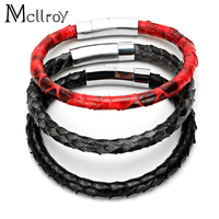 Mcllroy 2017 New Fashion 6 mm Real Snake skin Man Bracelet Titanium Steel Button Couple Leather Bracelet For Men Women Gift