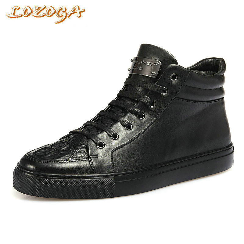 Lozoga New Fashion Men Boots Genuine Leather High Quality Brand Autumn Boots Short Ankle Men Zipper Boots Leisure Handmade Boots lozoga new men shoes fashion boots ankle 100