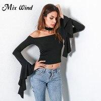 Mix Wind Autumn Winter Off Shoulder Top Female Flare Sleeve Short Blouses Shirts Women Solid Slash