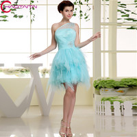 Coctail Dress A Line Organza Above Knee, Mini Custom Made Crystal Short Blue Cocktail Dresses 2018
