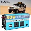 Truck Car Power Inverter DC 12 V 24 V a AC 220 V 2000 W vehículo Adaptador Convertidor USB con 4 USB y 2 Enchufe Multifunción cargador