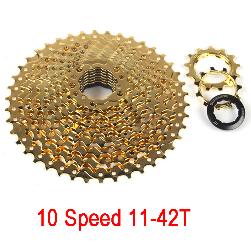 10 Speed 11-42T/11-36T MTB mountain bike Cassette 10s 42T/36T Wide Ratio Gold Bicycle Freewheel 10 speed cassette 11 42t gold mtb cassette 10 speed fit for mountain bike road bicycle mtb bmx sram shimano