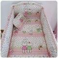 Promoción! 6 unids cuna juego de cama en cuna juego de cama ropa de cama ( bumpers + hojas + almohada cubre )