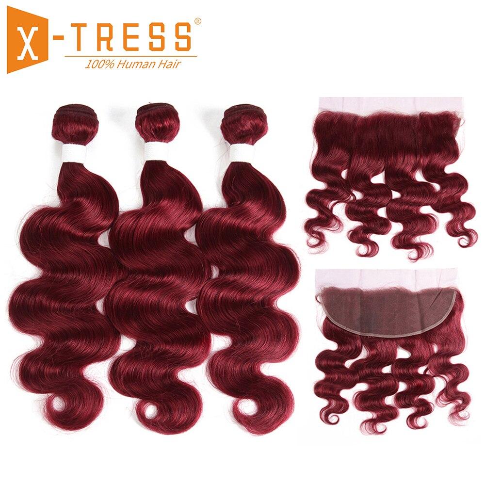 99J/Burgundy Human Hair Weave Bundles 3PCS With Lace Frontal Closure X-TRESS Brazilian Body Wave Non