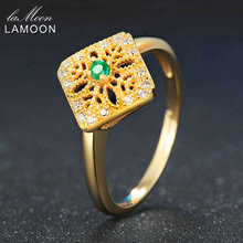 LAMOON Women Hollow Embroidery Rings 2mm Round Cut Square Green Emerald 925 Sterling Silver Fine Jewelry Wedding Ring Anillos