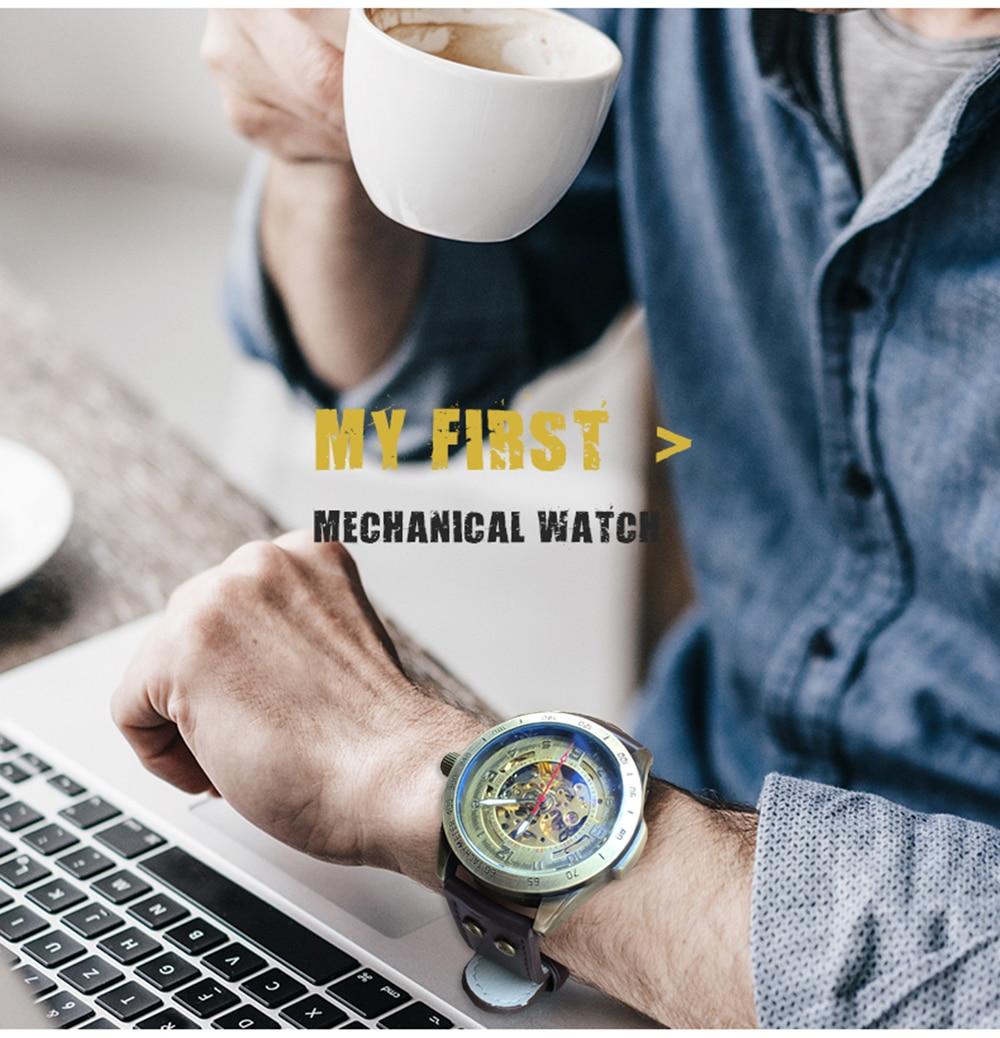 HTB1EtP cm I8KJjy0Foq6yFnVXaV Skeleton Mechanical Watch Automatic Watch Men Steampunk Bronze Transparent Mens Automatic Mechanical Watches Clock montre homme