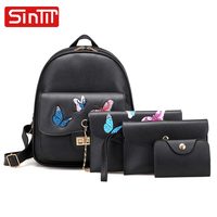SINTIR 4 Sets Cute Butterfly Embroidery Women Backpacks High Quality PU Leather Vintage School Bags For Teenager Girls Mochila