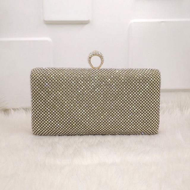 1ccb43827 Cristal ouro/prata/preto diamante elegante mulheres nupcial do casamento da embreagem  bolsa carteira