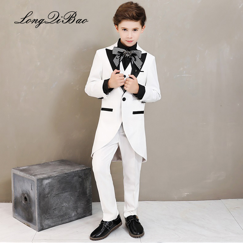 High quality longqibao2019 new foreign style white boy tuxedo children s piano costume school host suit