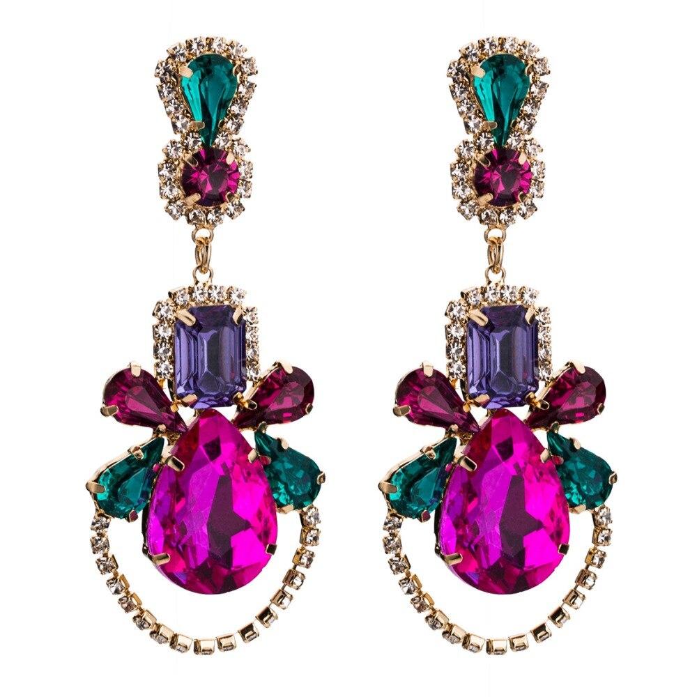 KMVEXO Water Drop Oorbellen Geometric Colorful Crystal Big Dangle Earrings For Women 2019 Wedding Party pendientes mujer moda