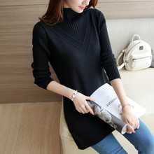 2017 women's cashmere sweater women's long warm sweater autumn and winter fashion Elastic loose knit pullover women WU122