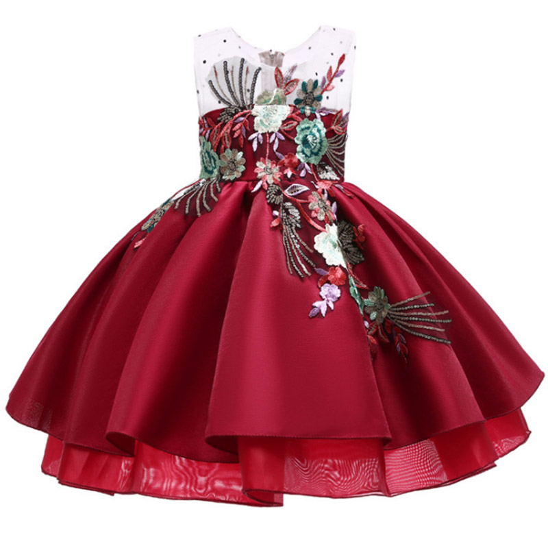 Embroidered Bow High Quality Wedding Flower Girls Baby Costume First Communion Dress Kids Ball Gown Clothes Children Clothing