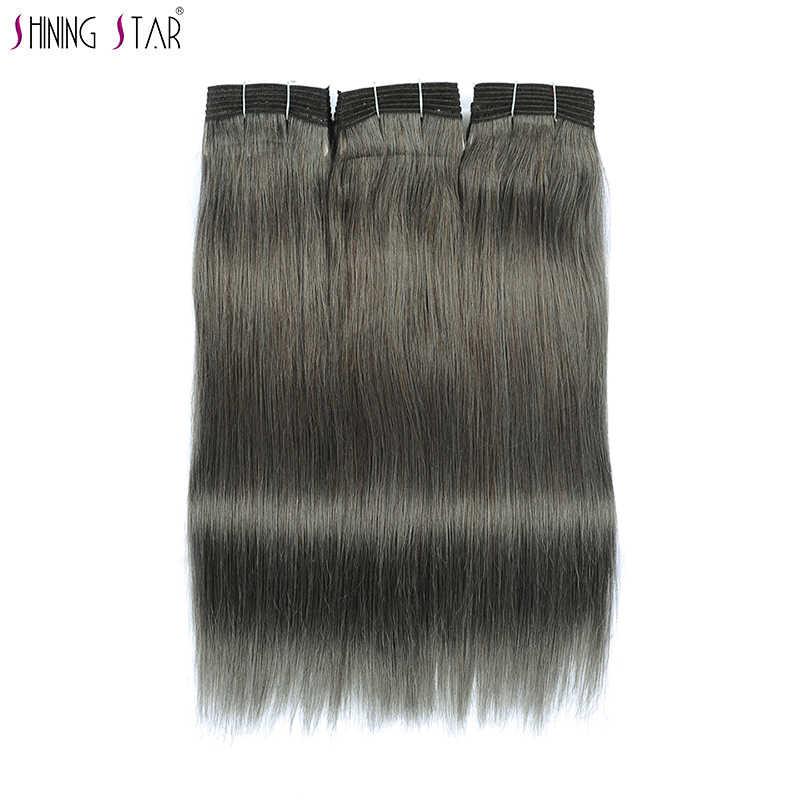 Shining Star Hair Grey Bundels Menselijk Haar Braziliaanse Linnen Bruin Gekleurde Rechte Bundels Grijs Extensions 1 Pc Niet Remy Gratis schip