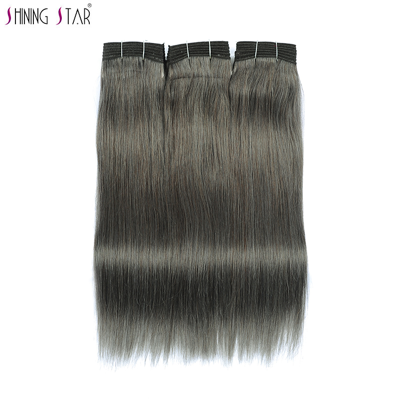 Shining Star Hair Grey Bundles Human Hair Brazilian Linen Brown Colored Straight Bundles Gray Extensions 1Pc Non Remy Free Ship