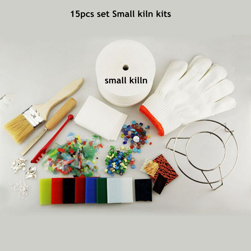 Free Shipping Sale 15pcs Set Professional Small Microwave Kiln Kit For DIY Jewelry Glass Fusing
